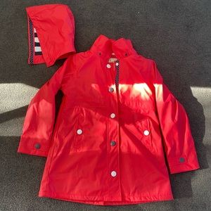 Hatley red and navy raincoat size 10 girls new